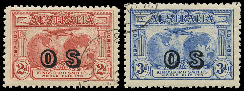AUSTRALIA 1931  SGO123/24 Official Kingsford Smith 2d, 3d used