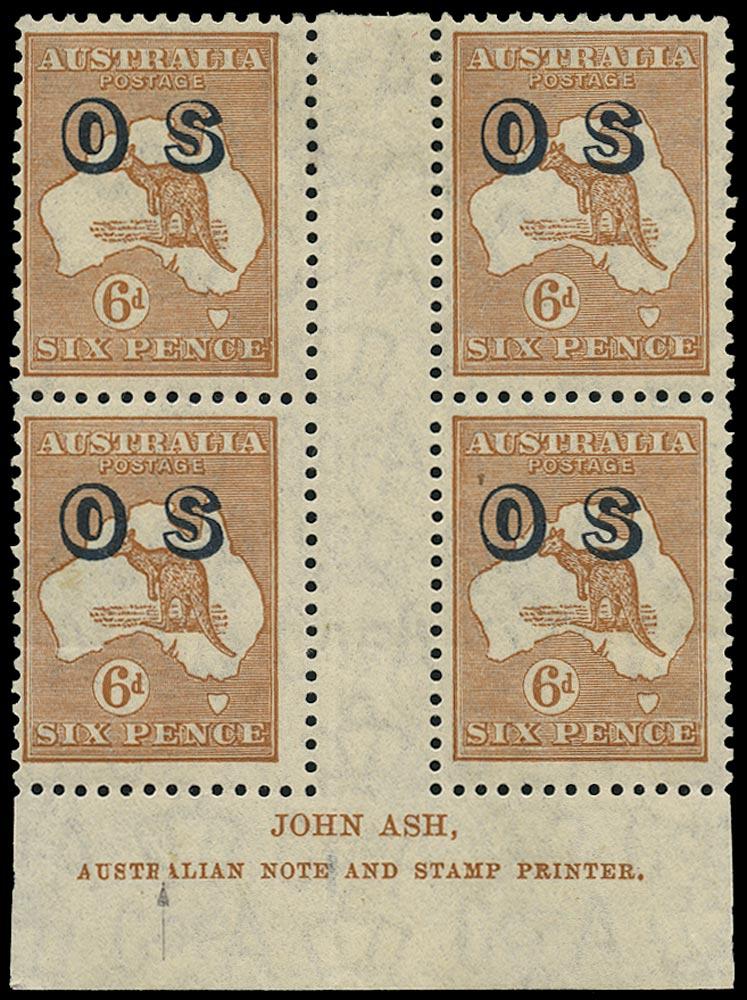 AUSTRALIA 1932  SGO133 Official 6d chestnut Kangaroo and Map watermark 15 imprint block of 4