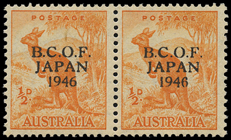 AUSTRALIA B.C.O.F. 1946  SGJ1a Mint unmounted ½d orange Kangaroo variety Wrong fount '6'