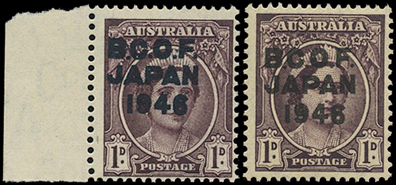 AUSTRALIA B.C.O.F. 1946  SGJ2a Mint unmounted 1d brown-purple variety blue-black overprint