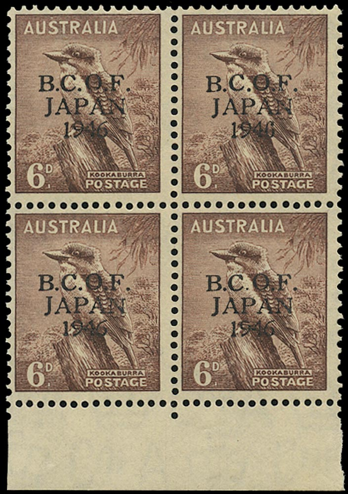 AUSTRALIA B.C.O.F. 1946  SGJ4a Mint unmounted 6d Kookaburra variety Wrong fount '6'