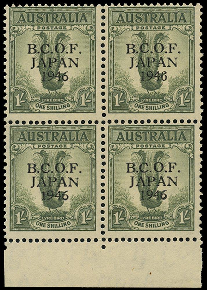 AUSTRALIA B.C.O.F. 1946  SGJ5a Mint unmounted 1s Lyrebird variety Wrong fount '6'