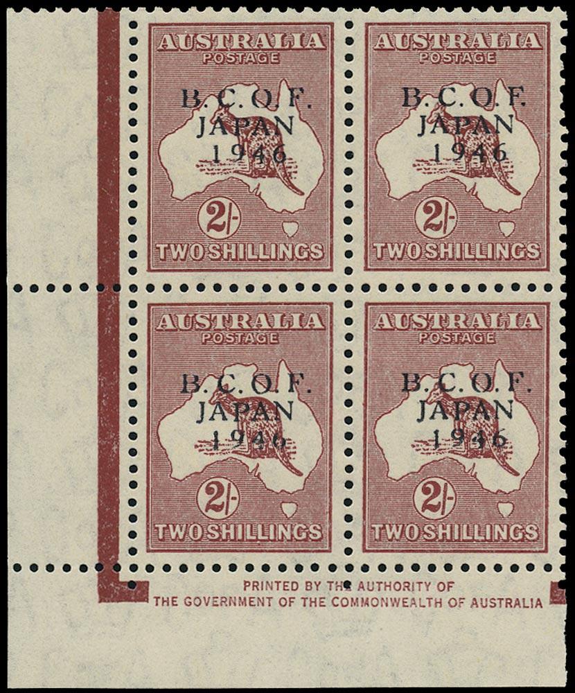 AUSTRALIA B.C.O.F. 1946  SGJ6 Mint unmounted 2s Kangaroo and Map imprint block of 4