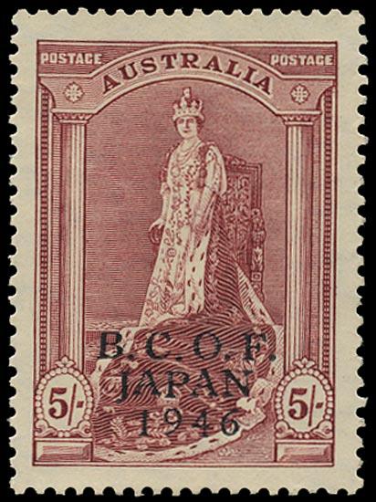 AUSTRALIA B.C.O.F. 1946  SGJ7 Mint unmounted 5s claret on thick paper