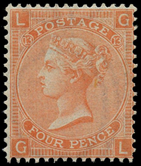 GB 1872  SG93 Pl.13 Mint Unused o.g. example (GL)