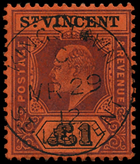 ST VINCENT 1904  SG93 Used KEVII £1 purple and black on red paper
