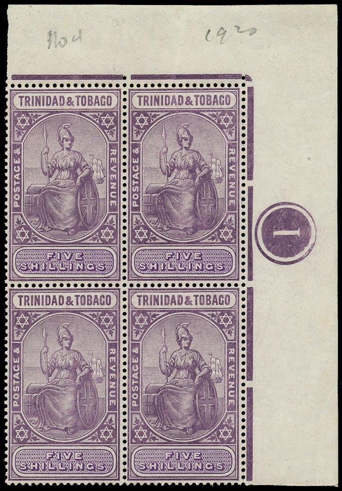 TRINIDAD & TOBAGO 1913  SG155b Mint unmounted 5s lilac and violet watermark MCA