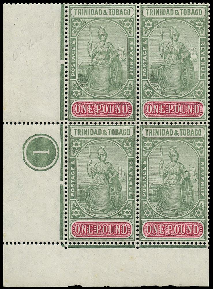 TRINIDAD & TOBAGO 1913  SG156 Mint unmounted £1 grey-green and carmine watermark MCA
