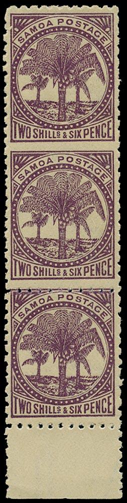 SAMOA 1886  SG64ba Mint 2s6d deep purple error imperf between
