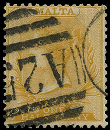MALTA 1863  SG13w Used ½d yellow watermark CC variety watermark inverted