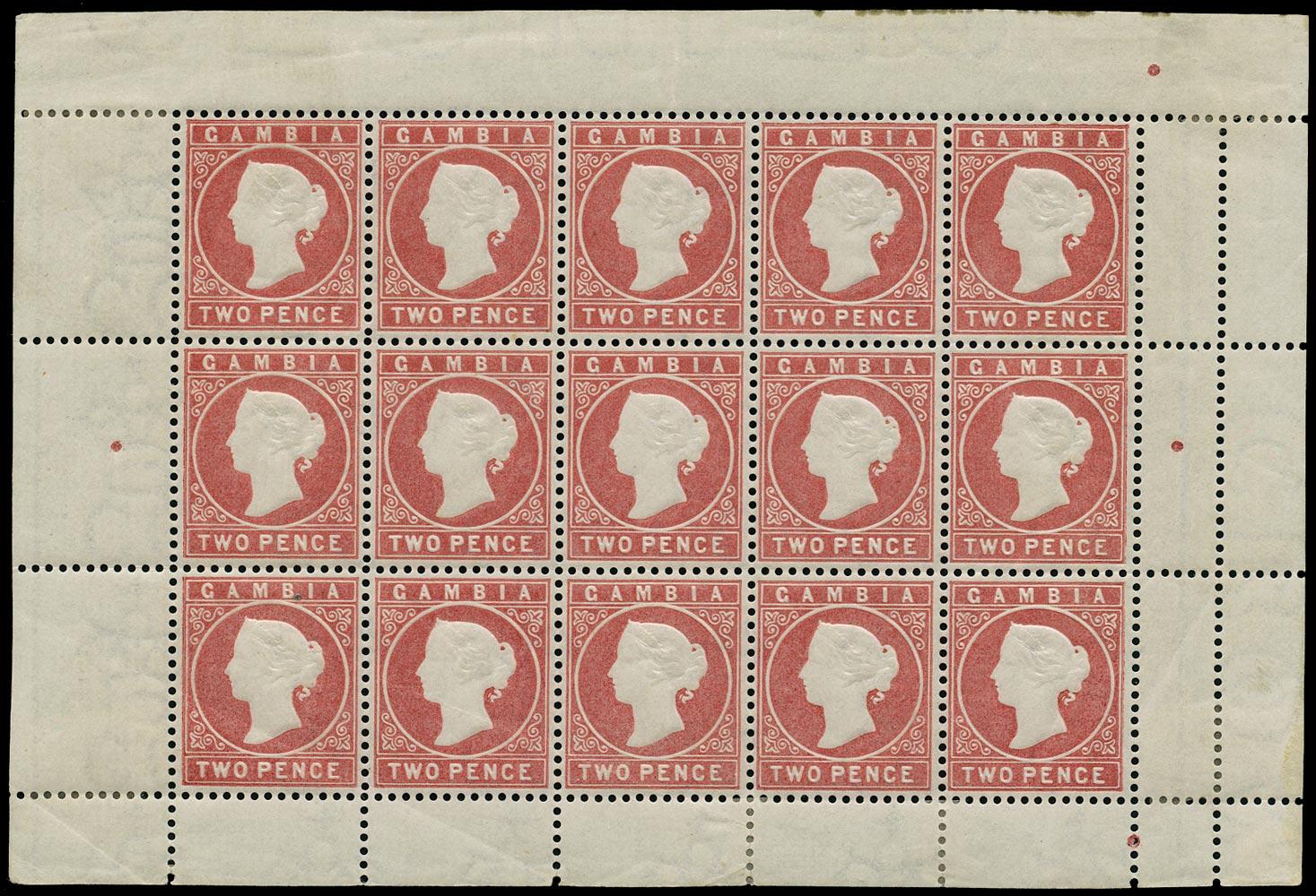 GAMBIA 1880  SG13B Mint 2d rose watermark CC upright