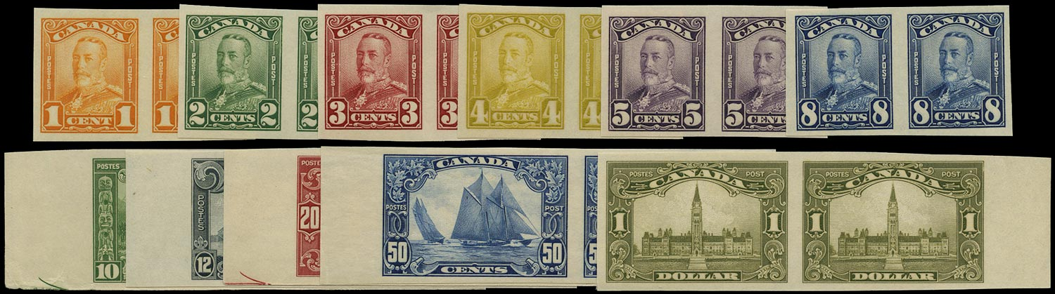 CANADA 1928  SG275/85 Proof Scroll set of 11 imperforate pairs