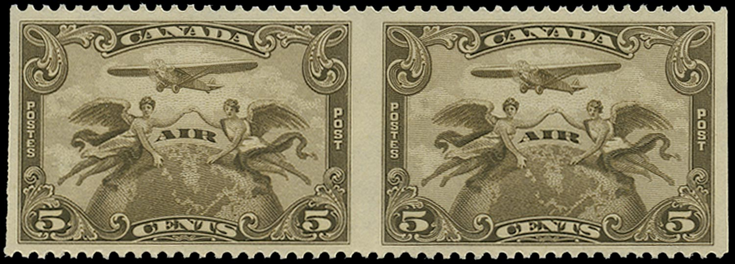 CANADA 1928  SG274 Proof Air 5c olive-brown horizontal pair imperforate vertically