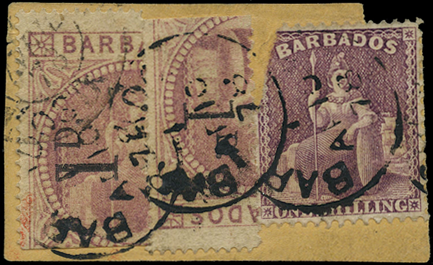 BARBADOS 1878  SG87, 88 Used 1d on half 5s dull rose x2 on piece to France