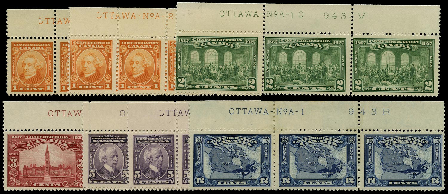 CANADA 1927  SG266/70 Mint 60th Anniversary of Confederation set to 12c with plate numbers