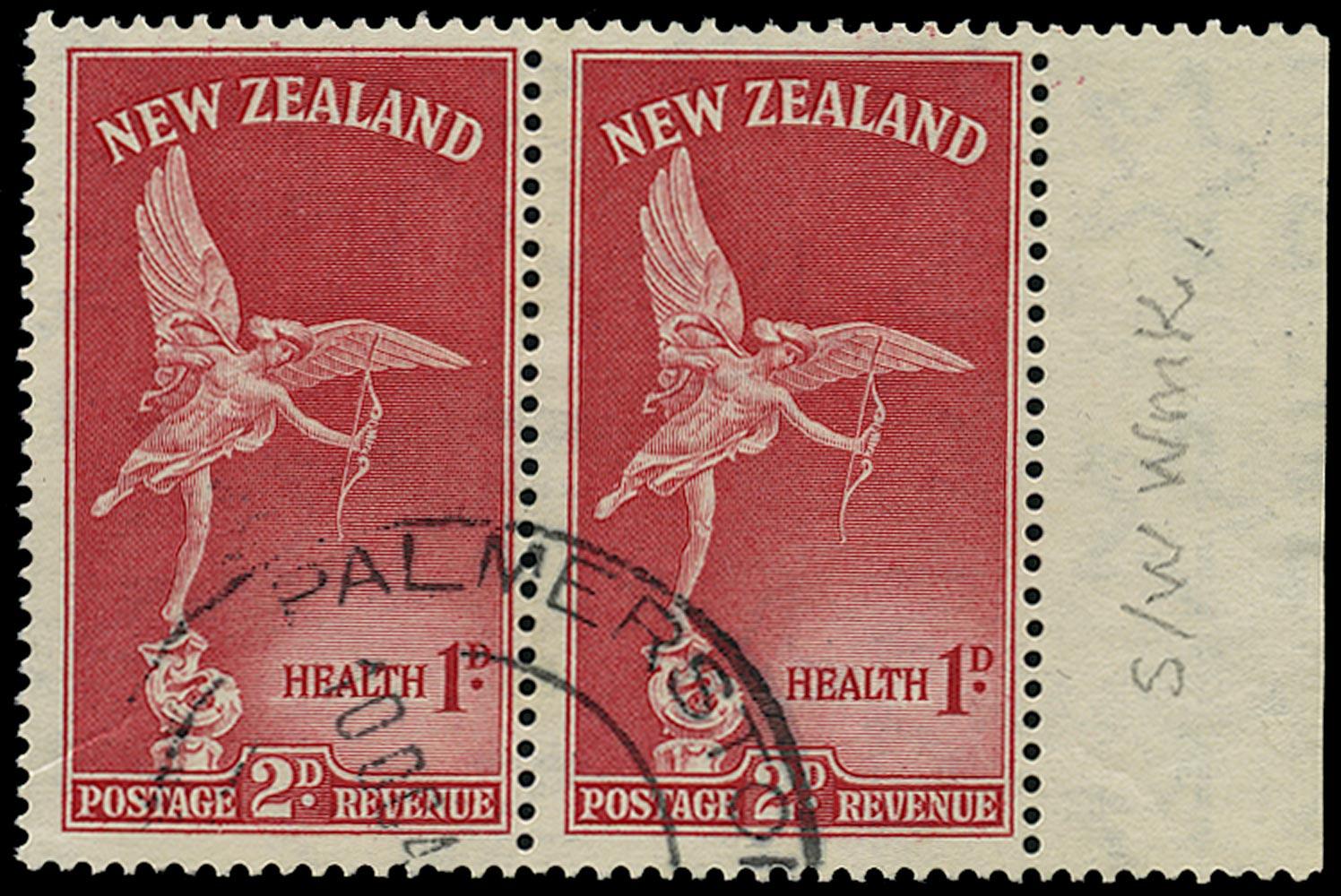 NEW ZEALAND 1947  SG691w Used Health 2d+1d carmine 'Eros' variety watermark sideways inverted