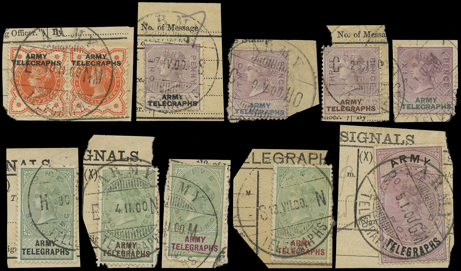 SOUTH AFRICA 1899  SGAT1, 3-6, 8-12 Telegraph ½d to £1 Army Telegraphs used