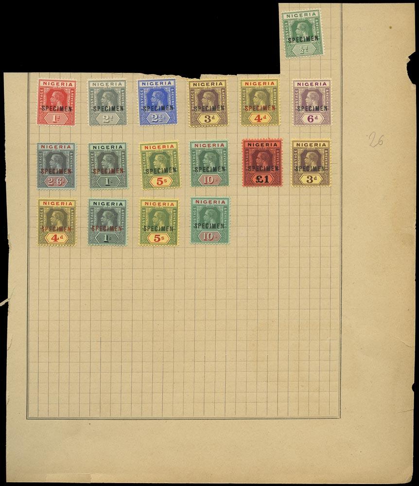 NIGERIA 1914  SG1s/12s Specimen KGV set to £1 plus later printings watermark MCA
