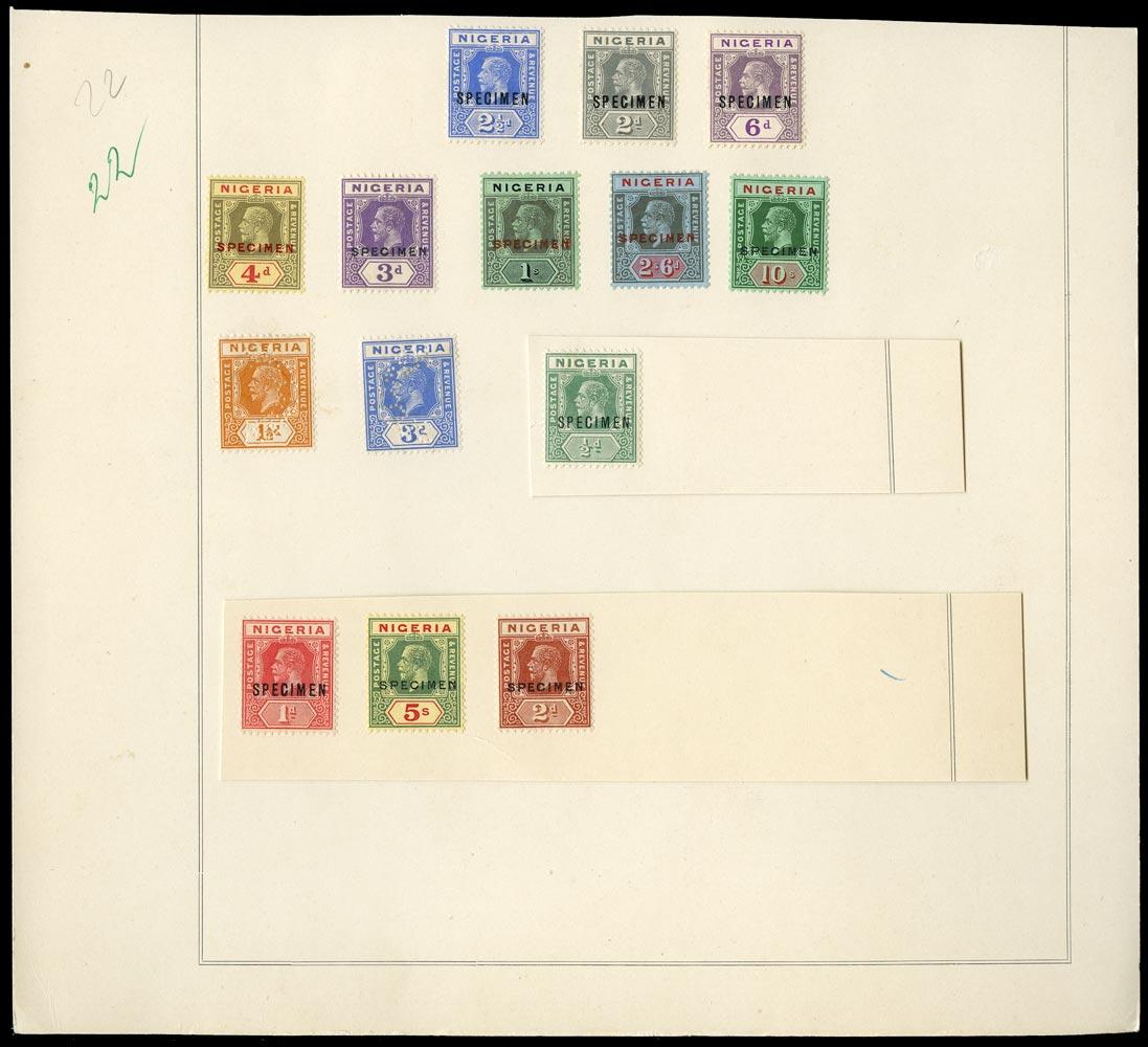 NIGERIA 1921  SG15s/29s Specimen KGV set to 10s watermark Script