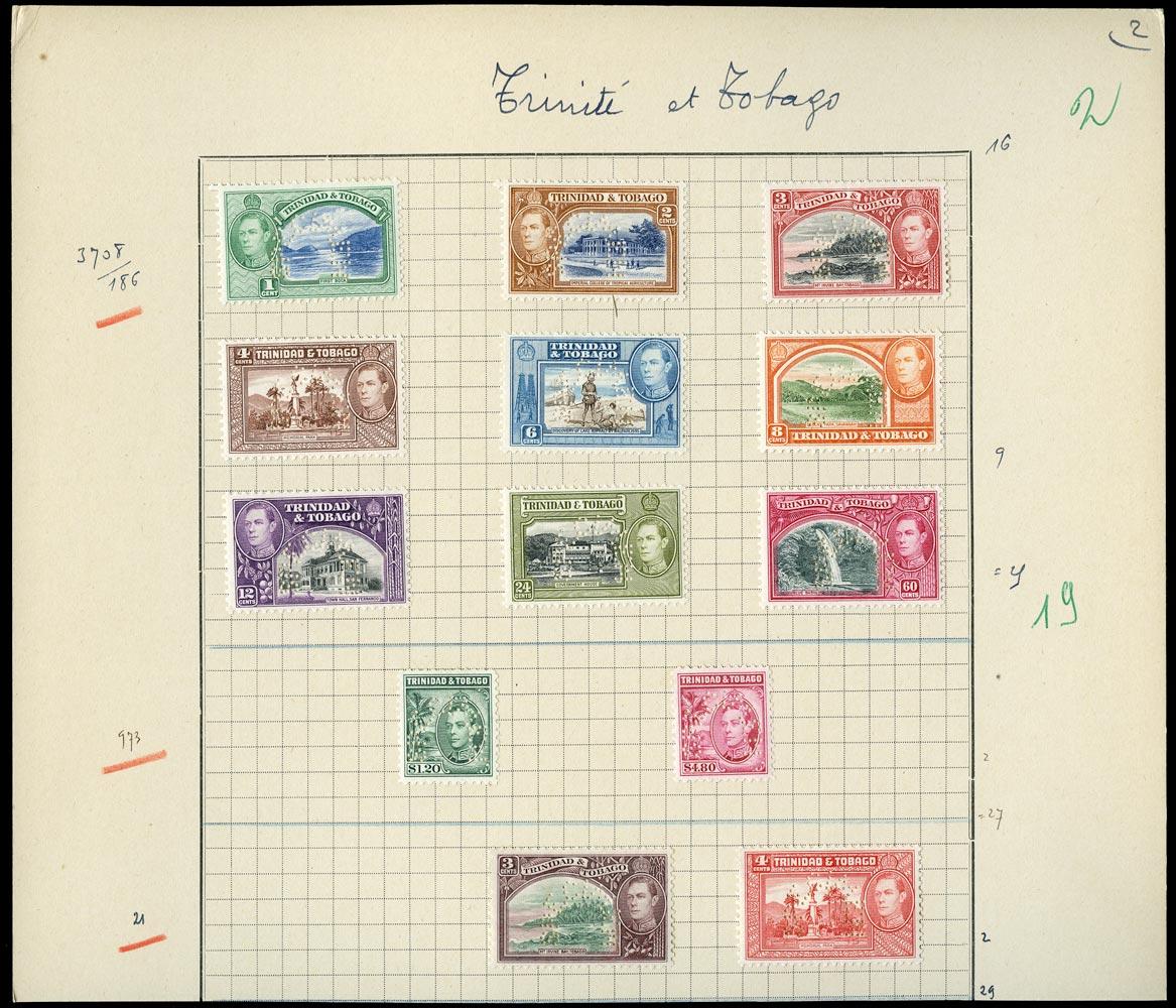 TRINIDAD & TOBAGO 1938  SG246s/56s Specimen KGVI set of 13 to $4.80