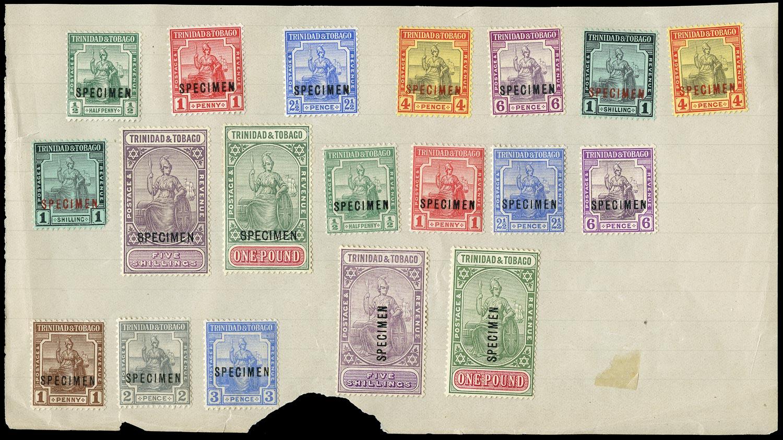 TRINIDAD & TOBAGO 1913  SG149s/56s, 206s/15s Specimen KGV watermark MCA set to £1 and Script watermark set of 9