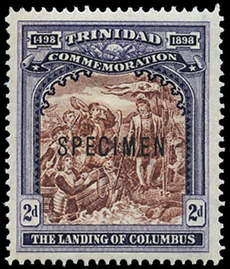 TRINIDAD 1898  SG125s Specimen Columbus 2d brown and dull violet