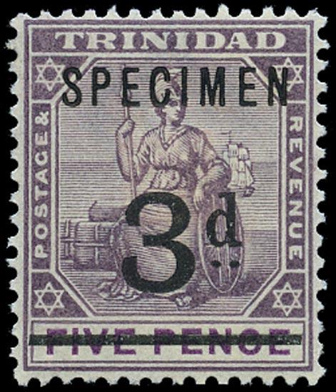 TRINIDAD 1899  SG126s Specimen unissued 3d on 5d dull purple and mauve