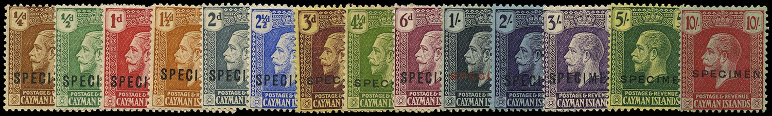 CAYMAN ISLANDS 1921  SG69s/83s Specimen set of 14 to 10s with Script watermark
