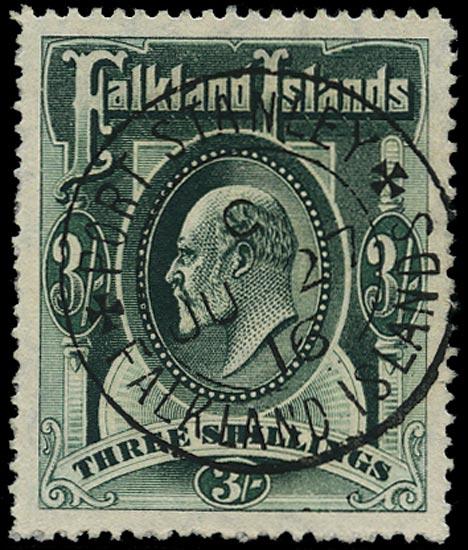 FALKLAND ISLANDS 1904  SG49b Used KEVII 3s deep green