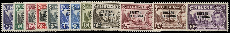 TRISTAN DA CUNHA 1952  SG1/12 Mint unmounted KGVI set of 12 to 10s
