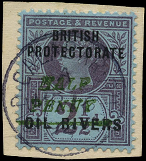 NIGER COAST 1893  SG35 Used QV ½d on 2½d purple and blue paper with type 10 surcharge in green