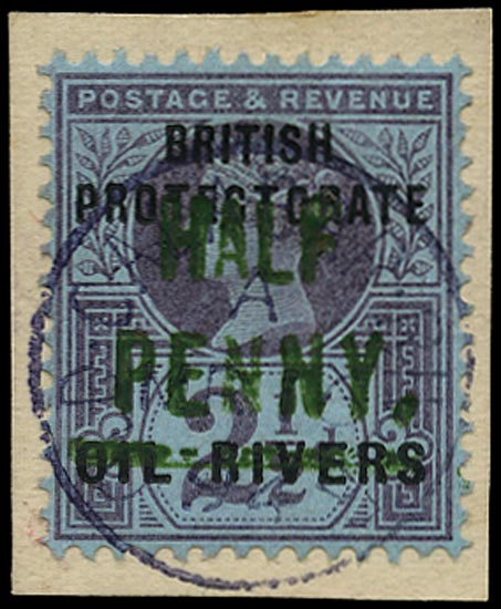 NIGER COAST 1893  SG11 Used QV ½d on 2½d purple and blue paper with type 4 surcharge in green