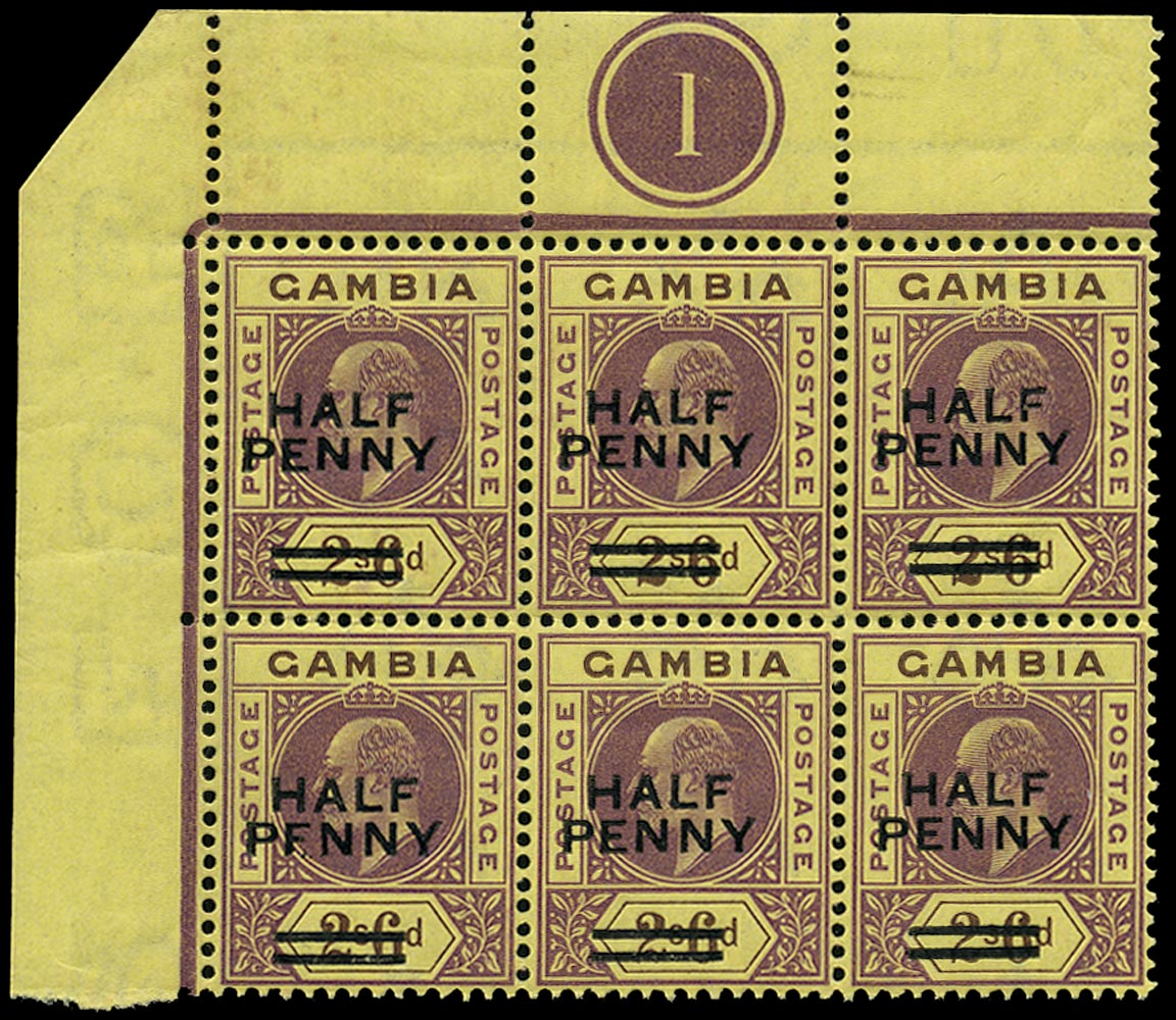 GAMBIA 1906  SG69 Mint HALF PENNY on 2s6d purple and brown on yellow paper