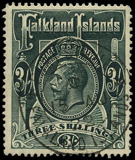FALKLAND ISLANDS 1912  SG66 Used KGV 3s slate-green watermark MCA