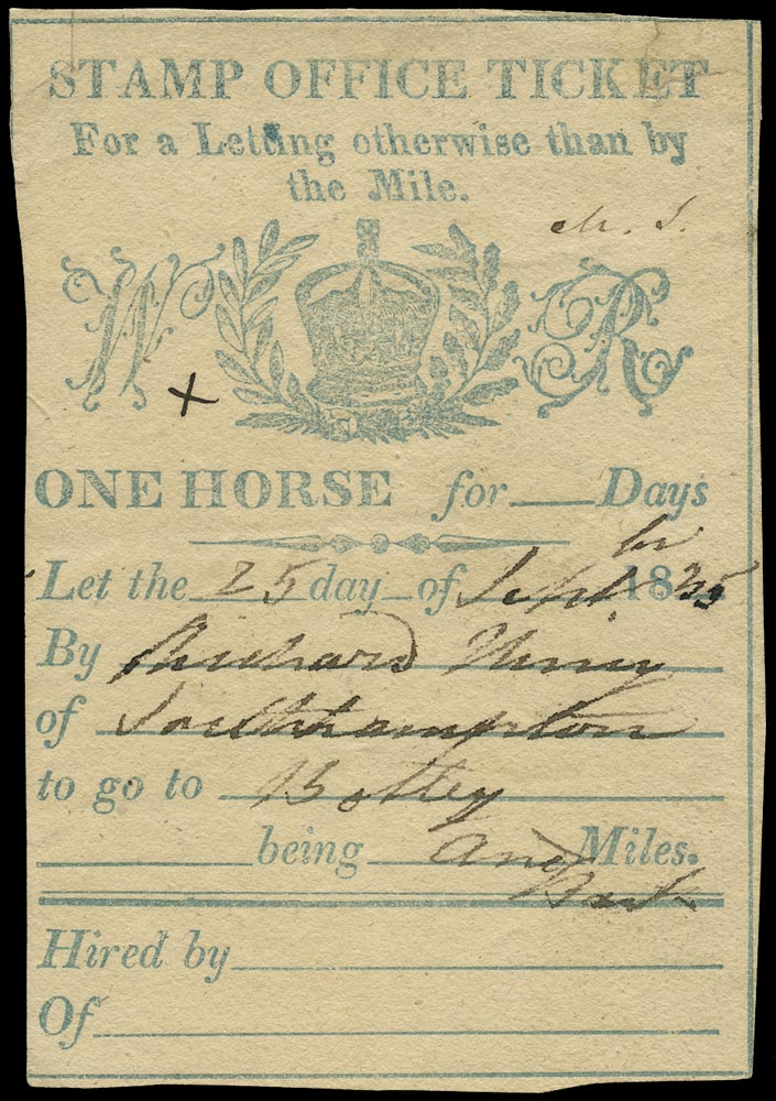 GB c.1831 Revenue Post horse duty Day ticket USED!