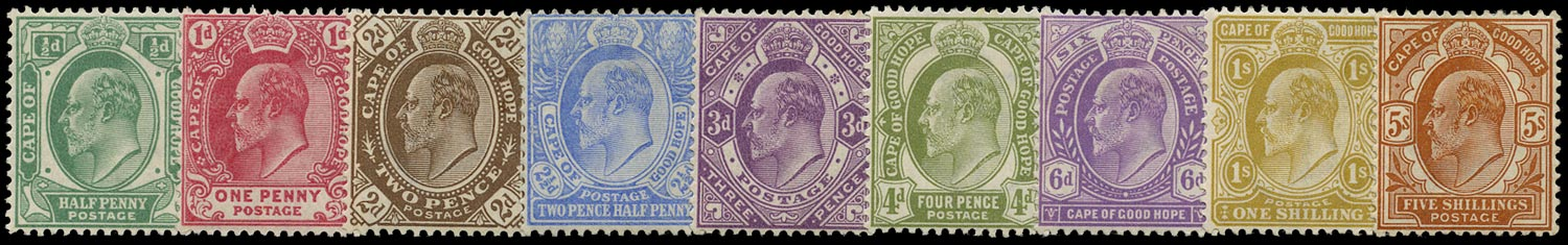 CAPE OF GOOD HOPE 1902  SG70/78 Mint KEVII set of 9 to 5s