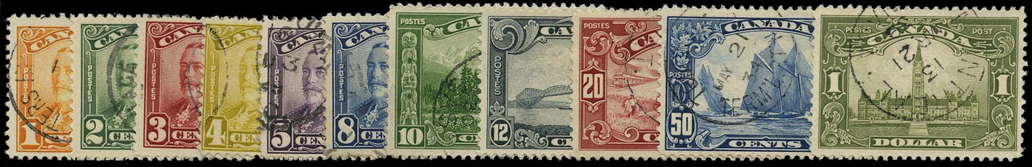 CANADA 1928  SG275/85 Used KGV 'Scroll' set of 11 to $1
