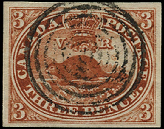 CANADA 1852  SG8 Used 3d brown-red 'Beaver' on handmade wove