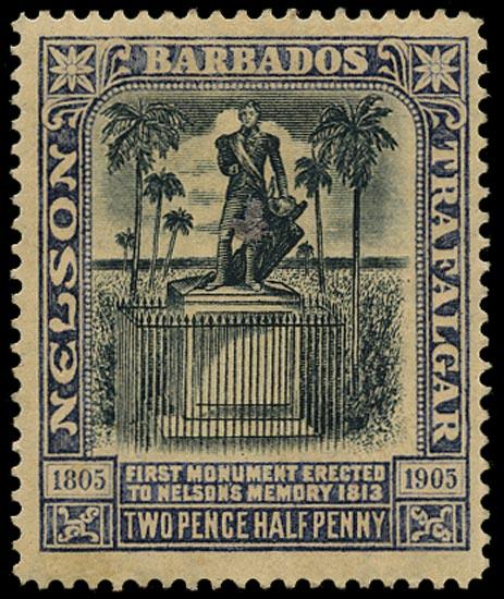 BARBADOS 1907  SG162a Mint Nelson Centenary 2½d black and indigo