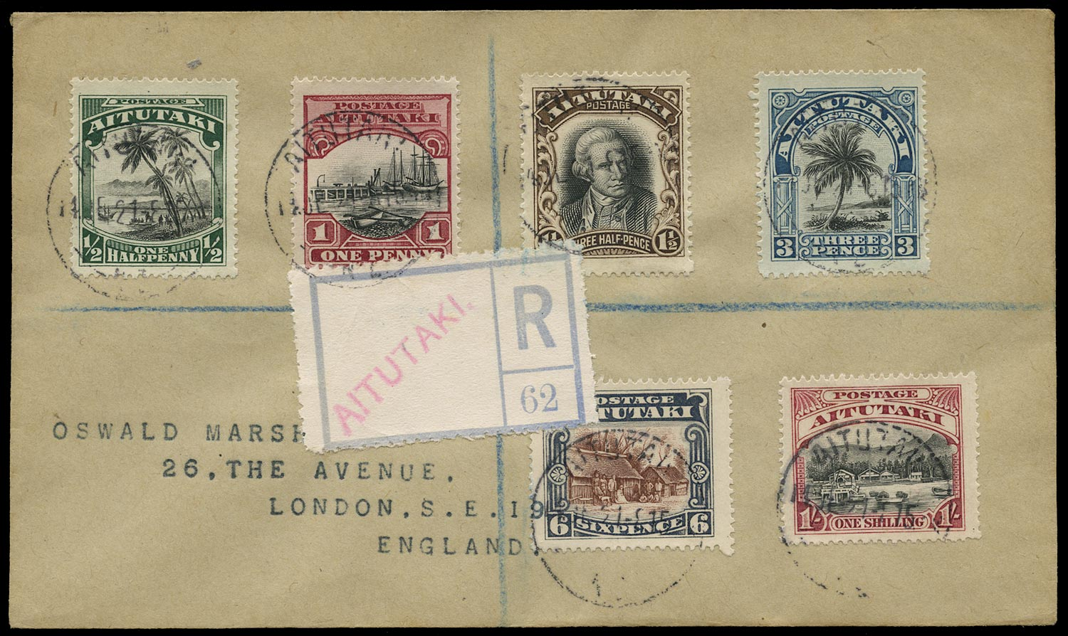 COOK IS - AITUTAKI 1921  SG24/29 Cover bearing 1920 pictorial set of 6 to 1s