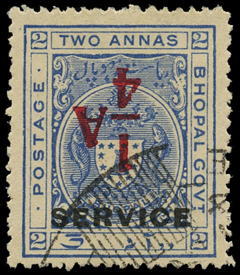 I.F.S. BHOPAL 1935  SGO320a Official ¼a on 2a ultramarine error surcharge inverted used
