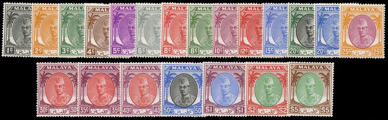 MALAYA - KELANTAN 1951  SG61/81 Mint unmounted set of 21 to $5