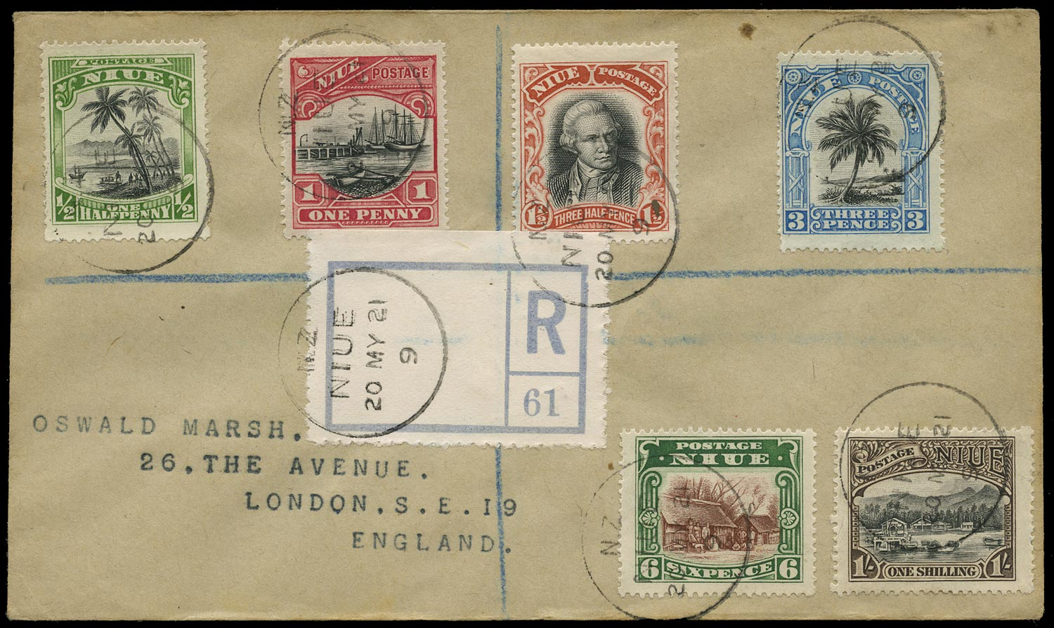 NIUE 1921  SG38/43 Cover with 1920 pictorial set of 6 to 1s