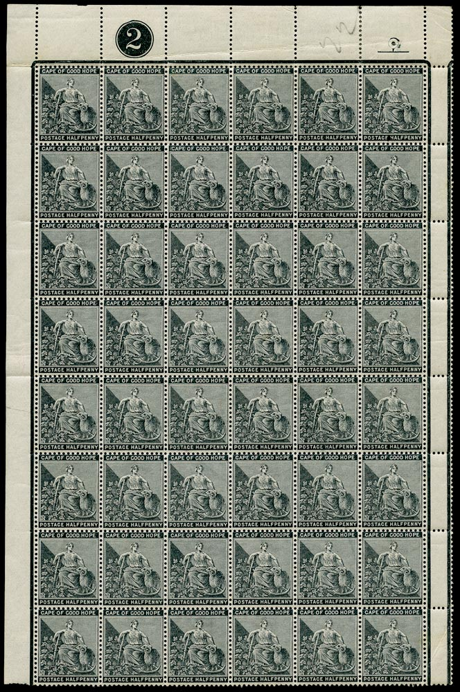 CAPE OF GOOD HOPE 1884  SG48a Mint ½d grey-black watermark Cabled Anchor block of 48