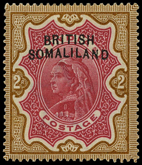 SOMALILAND PROTECT 1903  SG11a Mint QV 2r carmine and yellow-brown variety Curved overprint