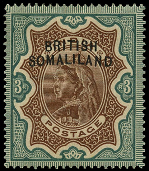 SOMALILAND PROTECT 1903  SG12a Mint QV 3r brown and green variety Curved overprint