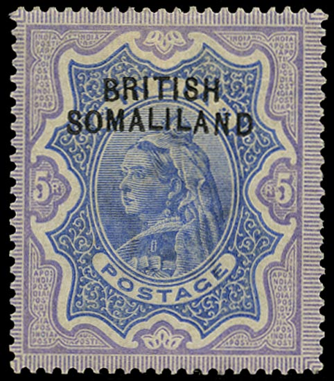 SOMALILAND PROTECT 1903  SG13a Mint QV 5r ultramarine and violet variety Curved overprint