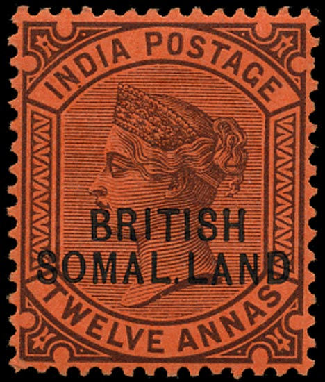 SOMALILAND PROTECT 1903  SG20c Mint QV 12a purple on red paper variety SOMAL.LAND
