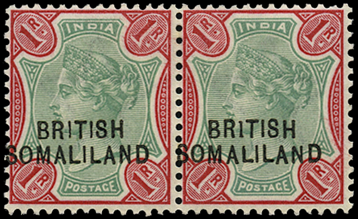 SOMALILAND PROTECT 1903  SG21a Mint QV 1r green and carmine variety BR1TISH