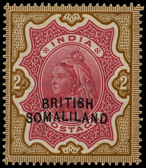 SOMALILAND PROTECT 1903  SG22a Mint QV 2r carmine and yellow-brown variety Curved overprint